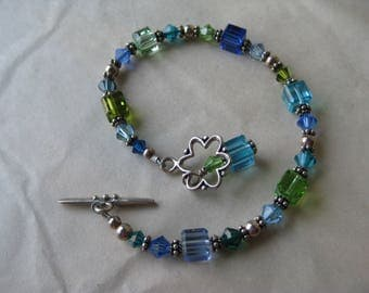 Glass Bead Sterling Blue Green Bracelet Vintage 925 Silver Beaded