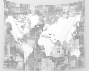 Grayscale world map etsy wall tapestry wall hanging sofa throw design 71 world map white gray grayscale home decor art gumiabroncs Image collections