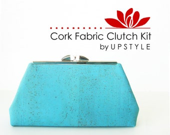 CORK Fabric Clutch Kit - DIY Purse with Modern Clutch - Pro Pattern by UPSTYLE - Small Turquoise Bag Sewing Craft Tutorial Project