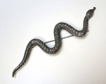 80s Silver Snake Pin