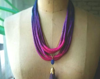 50%OFF Purple Ombre Necklace, Tropical Fuschia, Ocean Blue, Multi-strand, Tassel Pendant, Bohemian