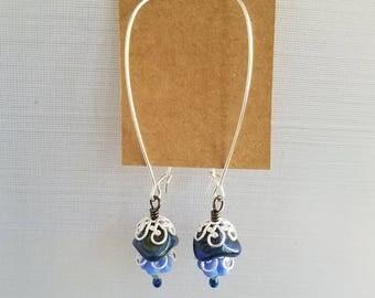 Silver and Blue Filigree Earrings, 50%OFF Beaded Earrings, Summer Earrings, Under 10