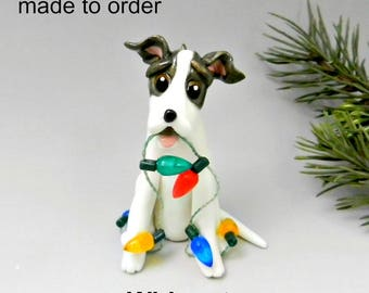 Whippet Dog Made to Order Christmas Ornament Figurine in Porcelain