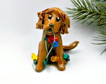 Irish Setter Christmas Ornament Figurine Lights Porcelain