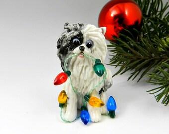 Pomeranian Blue Merle and White Christmas Ornament Figurine Lights Porcelain