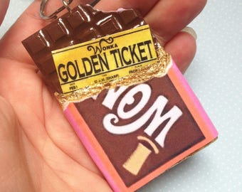 Wonka Bar With Golden Ticket Keyring - Polymer Clay - Kitsch Jewellery - Also Available as Magnet