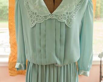 Vintage Dress - 80s Aqua Lace and Satin  Neck Pleats Pleasted