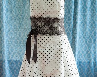 Vintage Dress - 80s Bridesmaid Prom Gunne Sax Brown Polka Dots Lace