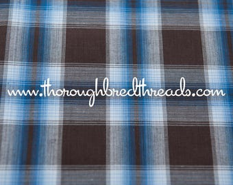 Brown and Blue - Vintage Fabric Multi-Colored Checked 70s Preppy Traditional