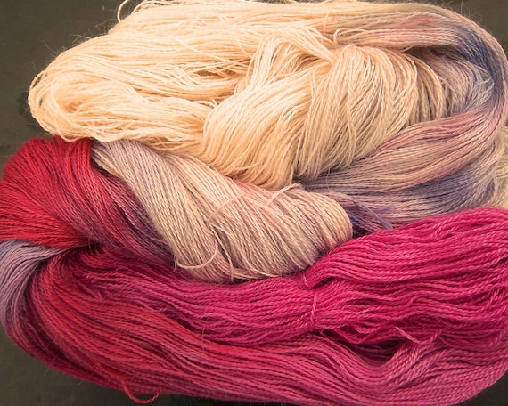 Baby Alpaca 30% Mulberry Silk Laceweight 2ply Yarn Elvincraft Hand Dyed Frosty Winter Berries