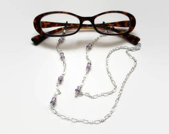 Items similar to Glasses chain with gems, Eye glass ...