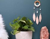 Nursery Decor Dream Catcher. Peach Felt Feather Wall Hanging. Baby Girl Nursery or Bedroom. Bohemian Modern Dreamcatcher Decor.