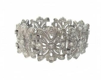 Antique Art Deco Bracelet, Wide Original Rhinestone 1920s, Fine Art Deco Jewelry Wedding Jewelry, Wide Vintage Rhinestone Cuff