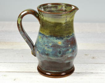 Small Pitcher- Vase - Rustic - Brown & Green