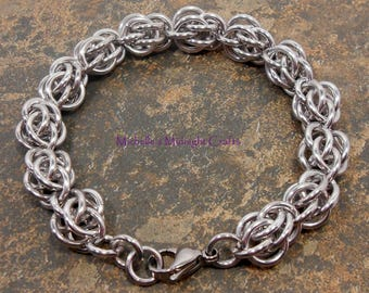Sweet Pea Chainmaille Bracelet, Maille, Chain, Gift for Her, Handmade Jewelry, Everyday Bracelet, Silver, Best Friend, Anniversary, Gift
