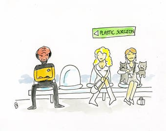 Worf in the waiting room illustration inspired by a Star Trek TNG Publicity Shot