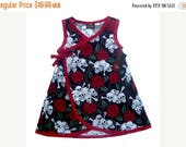 On SALE 55% OFF Skull And Roses - Punk Rock Dress - Red Dress - Black Dress - Rockabilly Baby - Dress - Girls Dress - Baby Dress - 6m