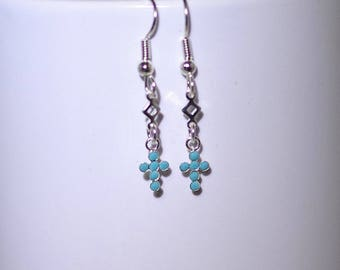 Swarovski & Sterling Silver Crystal Jewelry - Cross -  Shown in Turquoise