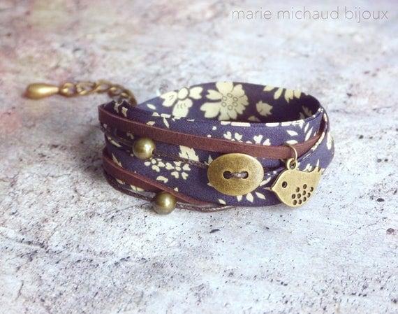 Liberty bracelet,Wrap bracelet,Double wrap bracelet,Textile bracelet,Cuff bracelet,Liberty jewelry,Blue bracelet,Boho bracelet,Boho jewelry