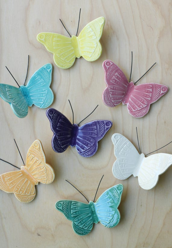 porcelain wall butterfly, your choice of color