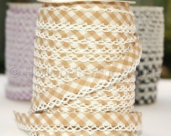 FINAL CLEARANCE SALE Bias Tape -  Sand Brown Gingham Cotton and Lace Double Fold