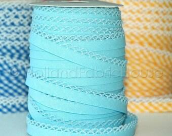 FINAL CLEARANCE SALE Double fold picot crochet edge bias tape, crochet bias tape, lace bias tape, picot edge bias, baby blue bias tape, baby
