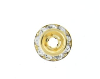 rhinestone rondelles 8mm , crystal , gold plated  06702.93