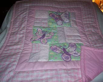 Handmade Baby Appliqued Butterflies And Chenille Baby/Toddler Quilt-Newly Made 2017