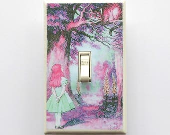 5.50 Line of Alice switchplates- Alice in Wonderland nursery decorations Alice rocker plate Alice art Decora plate CGFI switch sepia Alice