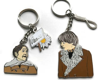 Harold and Maude Enamel Keychains with charms