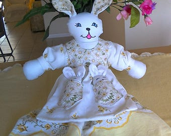 Daisy Bunnita  Heirloom  Pillowcase Bunny Doll with Baby Bunnies