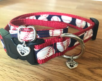 Best Friend Bracelet and Pet Collar Set in Red and Blue Baseball Print on Red Webbing.