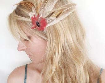 Feather Fascinator Red Macaw Feathers Hairpiece Hat clip