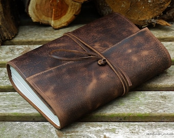 A5, Medium, Distressed Leather Journal, Leather Wraparound Journal, Travel Journal, Dark Brown Leather Diary, Wrap Notebook, Bullet Journal.