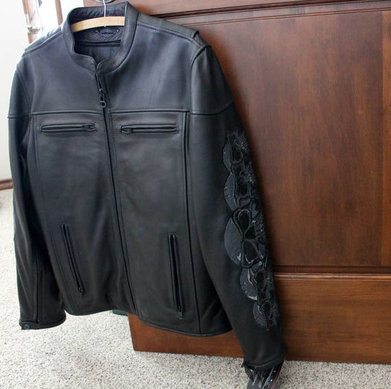 Wilson Skull Leather Motorcycle Jacket in Black Size L Large, New NWT with Gun Pocket