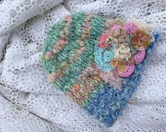 pink blue mint wool Beanie  Hand Spun Hand Knit  beanie soft merino beanie