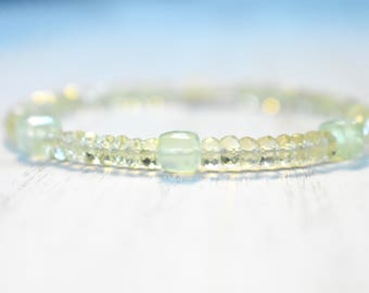 lemon quartz & prehnite beaded bracelet. yellow and green gemstone bracelet. pale green and pale yellow bracelet. prehnite and lemon quartz
