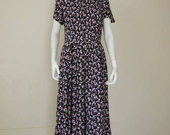 SALE 25% off sundays Grunge Floral Dress Vintage 90s Black Floral Print Grunge Boho Draped Slouchy Indie Maxi Dress (s m)
