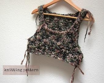 gypsy bodice knitting pattern . cropped sweater vest knitting pattern . pdf knitting pattern tank top . super bulky yarn sari silk ribbon