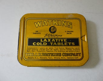 VINTAGE black and gold WATKINS laxative cold tablets TIN - vintage advertising