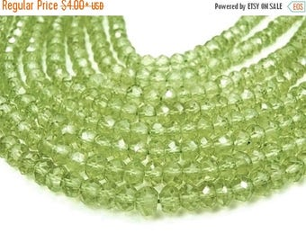 SALE Peridot Gemstone  Faceted Rondelles, Delicate 2.5mm Semi Precious Gemstone. Strand Your Choice (aper)