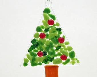 Glassworks Northwest - Tree with Berries - Fused Glass Ornament