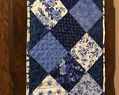 """Table Runner, 13"""" x 45"""", blue and white table runner, table topper, table decoration"""