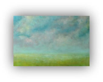 Large Blue and Green Abstract Landscape Oil Painting- 24 x 36 Field Sky and Clouds Painting- Original Palette Knife Art on Canvas