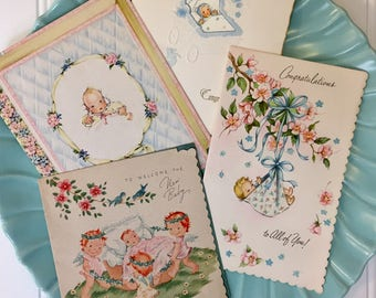 Vintage Baby Greeting Cards, Four Midcentury Baby Cards, 1940s-1950s New Vintage Baby Cards