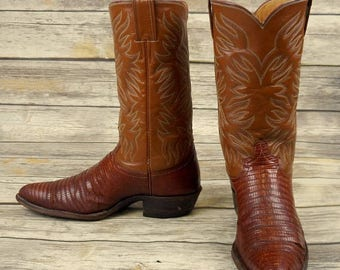 Justin Cowboy Boots Lizard Brown Leather Mens Size 9.5 D Distressed Exotic Shoes