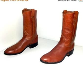 Caramel Brown Rockabilly style Tony Lama cowboy boots size 9 D or cowgirl size 10 to 10.5