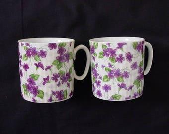 Purple Violets Mug Cup Pair Vintage Porcelain (China) BIRTHDAY FRIENDSHIP Gift (Lot of 2) Elegantly Backstamped in Gold #209 (MR5))