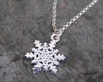 Snowflake necklace. Sterling silver snowflake necklace. Dainty snowflake necklace. Delicate sterling silver necklace