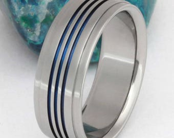 Titanium Wedding Band, Thin Blue Line Ring, Handcrafted Unique Titanium Band, Man's Ring, Woman's Ring - b3